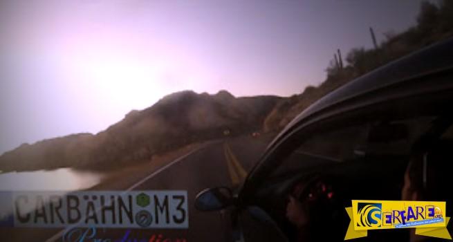 Άπειρος οδηγός με BMW M3 πέφτει στον γκρεμό μετά από στροφή έκπληξη!