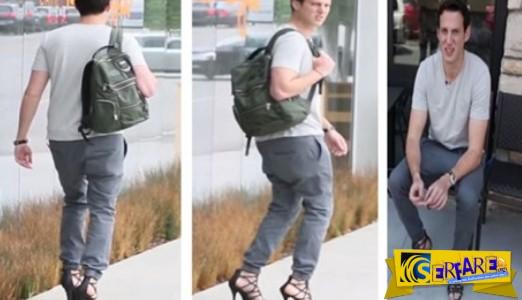 Πώς περπατάει ένας άνδρας με ψηλοτάκουνα και... για πόσο!
