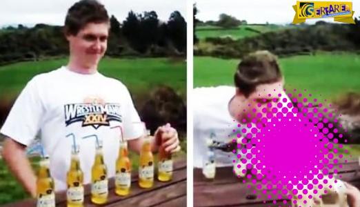 Αυτός ο τύπος προσπάθησε να πιει 6 μπύρες μέσα σε 2 λεπτά και ιδού το αποτέλεσμα!