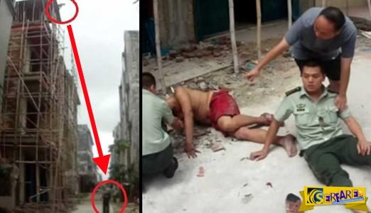Αστυνομικός βάζει το σώμα του σε άντρα που πέφτει για να αυτοκτονήσει και τον σώζει!