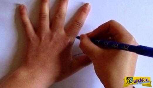 Αρχίζει να ζωγραφίζει το χέρι της με ένα στυλό – Σας μοιάζει βαρετό; Για δείτε το μέχρι το τέλος!