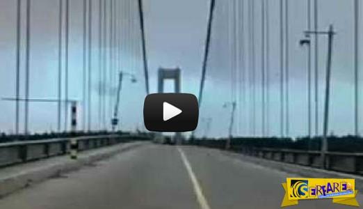 Γέφυρα καταρρέει από τον άνεμο! Σοκαριστηκές εικόνες ...