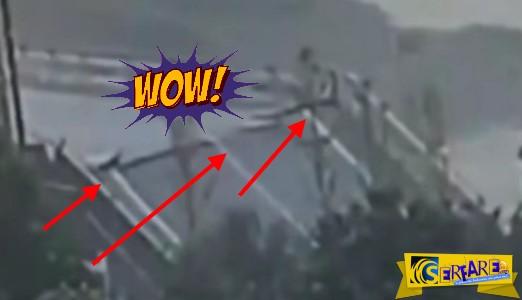 Συγκλονιστικό: Γέφυρα κόβεται στα δύο λόγω τυφώνα «καταπίνοντας» οδηγό
