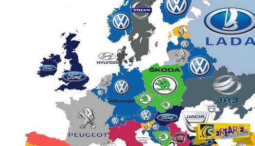 Αυτές είναι οι μάρκες αυτοκινήτων που κυριαρχούν στην Ευρώπη ανά χώρα!