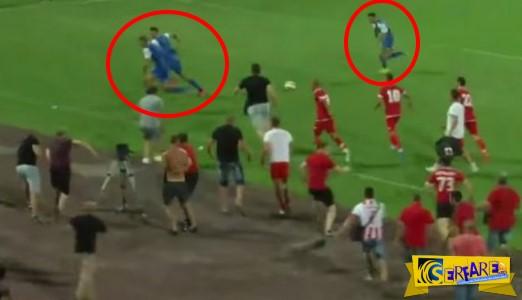 Οπαδοί εισέβαλαν στο ματς και κυνήγησαν τους ποδοσφαιριστές της αντίπαλης ομάδας!