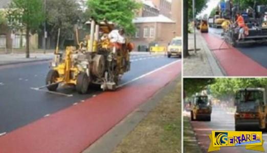 Ο εκπληκτικός τρόπος που κατασκευάζουν έναν ποδηλατοδρόμο στην Ολλανδία!