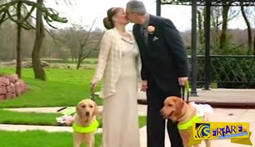 Αυτό το ζευγάρι τυφλών μόλις παντρεύτηκε! Δείτε τι κάνουν τα σκυλιά τους… Θα δακρύσετε ...