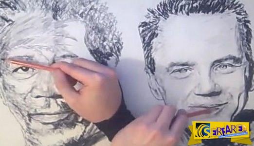Ζωγραφίζει ταυτόχρονα και με τα δύο χέρια! Δεν έχετε ξαναδεί κάτι τέτοιο…