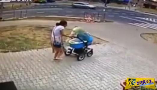 Απίστευτο: Μητέρα και μωρό γλύτωσαν την τελευταία στιγμή απο όχημα που έπεσε κατά πάνω τους