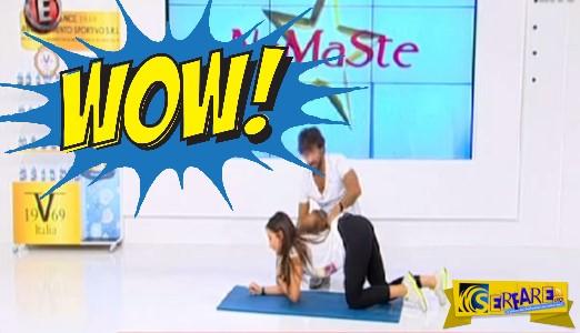 Η Χριστίνα Μουστάκα πέφτει στα... γόνατα και κάνει γυμναστική!