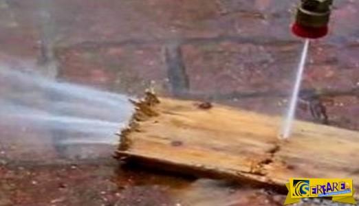 Κι όμως γίνεται! Κόβει ξύλα χρησιμοποιώντας μόνο… νερό!