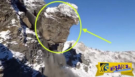 Αποκολλάται τεράστιος βράχος στις Άλπεις και δημιουργεί χιονοστιβάδα