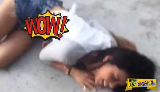 Το κορίτσι έπεσε και οι άκαρδοι τραβάνε βίντεο τα oπίσθια της!