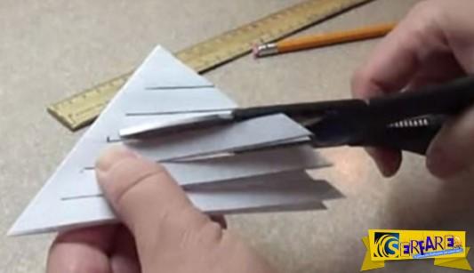 Κόβει 5 γραμμές σε ένα τριγωνικό χαρτί. Το αποτέλεσμα; Μια υπέροχη φθινοπωρινή διακόσμηση!