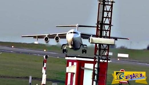 Αεροπλάνο παρασύρεται από δυνατό αέρα κατά την διάρκεια προσγείωσης!