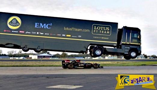 Φορτηγό 16 τόνων πραγματοποιεί άλμα ρεκόρ πάνω από κινούμενη Formula 1