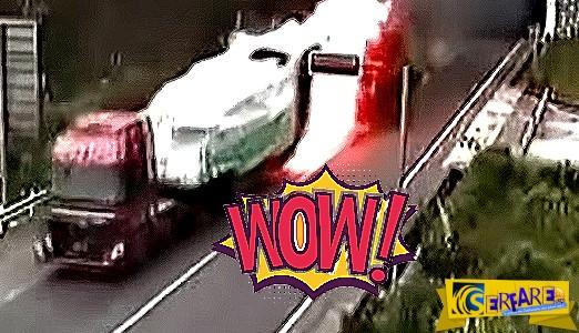 Βίντεο που κόβει την ανάσα: Οδηγός νταλίκας ρισκάρει την ζωή του για να μην... κινδυνεύσουν κι άλλοι!