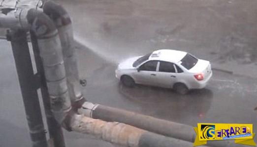 Δωρεάν πλύσιμο αυτοκινήτου από σπασμένο αγωγό στην Ρωσία!