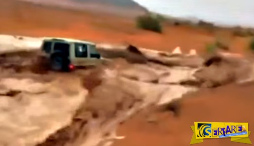 Τζιπ γίνεται «καρυδότσουφλο» στα ορμητικά νερά μέσα στην... έρημο