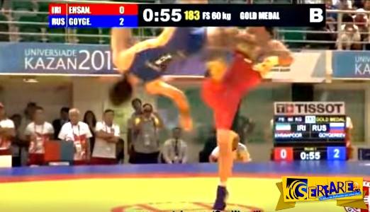 Δείτε την κίνηση νίντζα που έκανε αυτός ο αθλητής κατά τη διάρκεια αγώνα πάλης!