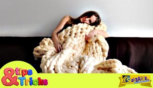 Πώς να πλέξετε μια κουβέρτα με τα χέρια σας σε λιγότερο από μια ώρα!