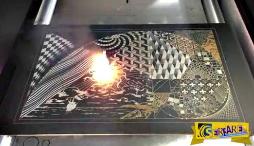 Μηχάνημα δημιουργεί έργα τέχνης με laser πάνω σε μεταλλικές επιφάνειες!