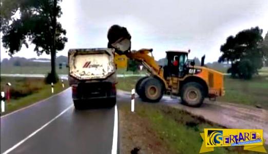 Ο λάθος τρόπος να φορτώσεις μια πέτρα σε ένα φορτηγό!