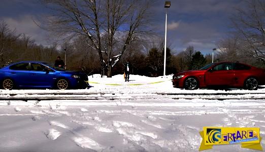 Subaru WRX STI vs BMW M4 δεμένα στο χιόνι σε μία κόντρα ισχύος!