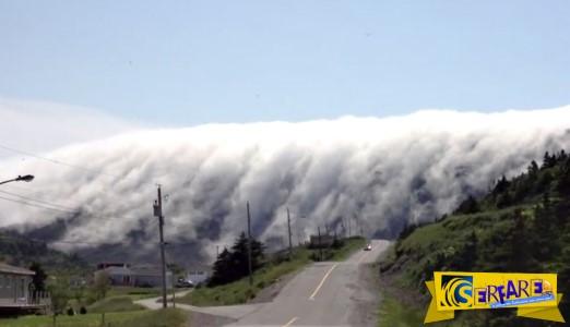 Τα σύννεφα που κατεβαίνουν σαν καταρράκτης από το βουνό!