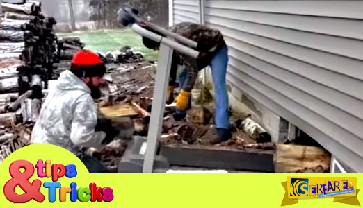 Δείτε τι σκέφτηκαν αυτοί οι άντρες για να μην κουβαλάνε τα ξύλα για το τζάκι!