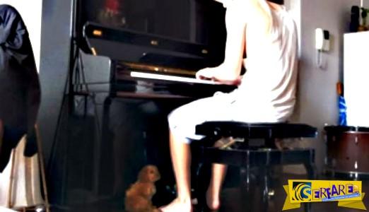 Η αντίδραση του σκύλου όταν ο ιδιοκτήτης του παίζει πιάνο!