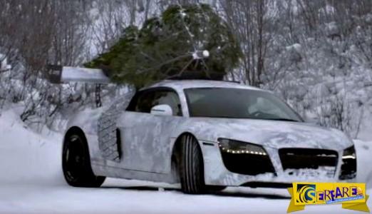 Audi R8 στον πάγο με δέντρο στη σκεπή!