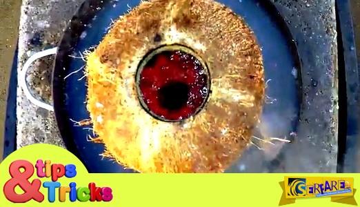 Τι θα συμβαίνει όταν ρίξουμε λιωμένο χαλκό μέσα σε μια καρύδα; - Δείτε το βίντεο ...