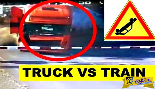 Τρομακτικό ατύχημα: Τραίνο καταστρέφει ολοκληρωτικά νταλίκα!