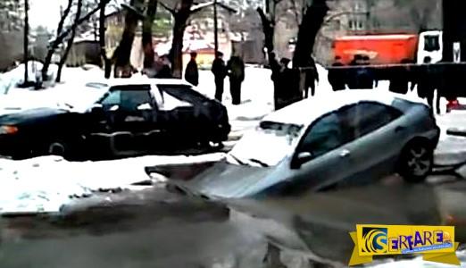 Προσπάθησαν να τραβήξουν αυτοκίνητο από τρύπα, αλλά απέτυχαν παταγωδώς