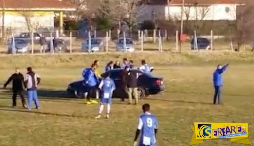 Μία BMW μπήκε σε γήπεδο, την ώρα του αγώνα, για να παραλάβει τραυματία!