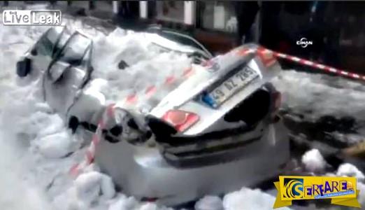 Φονικός πάγος: Δείτε τι καταστροφές μπορεί να προκαλέσει χιόνι που πέφτει από τον έκτο όροφο!