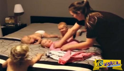Το βίντεο που έχει ξεπεράσει τα 60 εκατ. views - Η μητέρα ντύνει τα τέσσερα μωρά της!