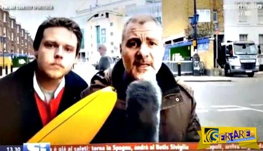 """Ρεπόρτερ κυνηγά νεαρό που τον παρενοχλούσε με μια μπανάνα στον…""""αέρα""""!"""