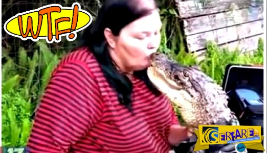 Αλιγάτορας νομίζει ότι είναι κατοικίδιο και δίνει φιλιά στο στόμα!