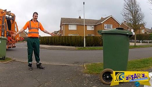 Αυτός ο τύπος βρήκε έναν τρόπο να κάνει φάρσα σε όλη την πόλη με έναν κάδο απορριμάτων!