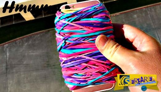 Έδεσε με χιλιάδες λαστιχάκια ένα iPhone 6s και το άφησε να πέσει από 30 μέτρα - Δείτε πως έγινε το κινητό!