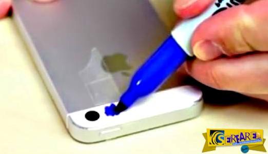 Ζωγραφίζει με ένα μπλε μαρκαδόρο το φλας του κινητού του - Ο λόγος θα σας αφήσει άφωνους!