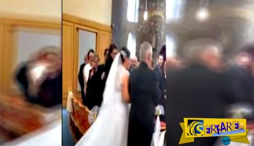 Χαμός στο γάμο! Παραγαμπράκι κάνει βουτιά στο νυφικό φόρεμα