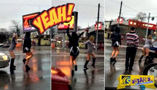 Με μίνι και προκλητικό χορό μοίρασαν εγκεφαλικά στους οδηγούς!