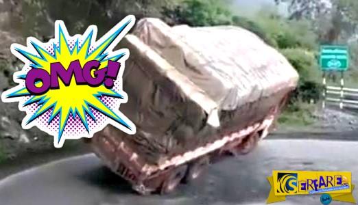 Υπερφορτωμένο φορτηγό προσπάθησε να στρίψει, αλλά τα έκανε «μαντάρα»!