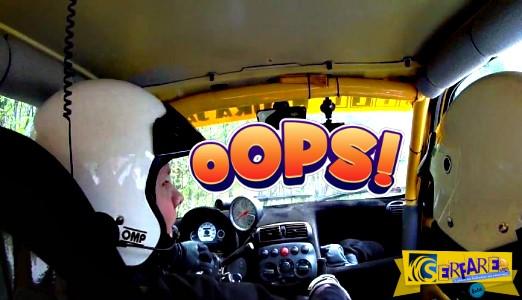 Το τιμόνι του μένει στα χέρια, αλλά ο οδηγός συνεχίζει τον αγώνα…
