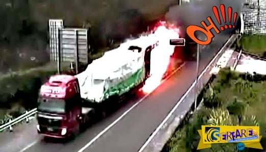 Φλεγόμενο φορτηγό βγαίνει από ... τούνελ στην Κίνα!