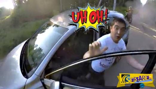 Πολιτικός επιτίθεται σε μοτοσικλετιστή και τρώει ... της χρονιάς του!