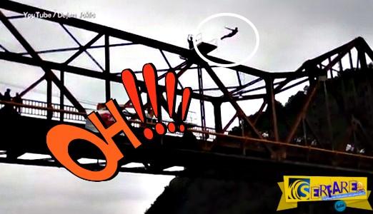Βίντεο σοκ! Επαγγελματίας αθλητής πνίγηκε σε ζωντανή σύνδεση - Βούτηξε σε ποτάμι από τα 20 μέτρα!
